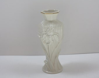 Vintage Lenox Giftware Collection Cream Bud Vase with Gold Trim and Embossed Iris