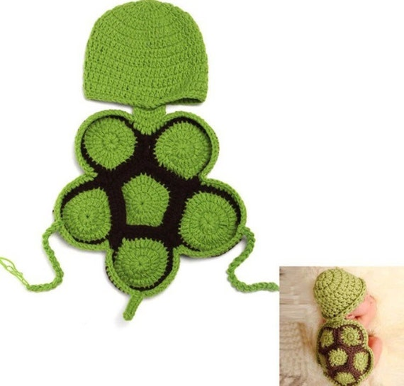 Free Crochet Pattern Turtle Photo Prop : Turtle prop //Baby turtle crochet photo prop green turtle