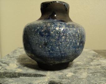 Dynasty Blue Raku Bottle