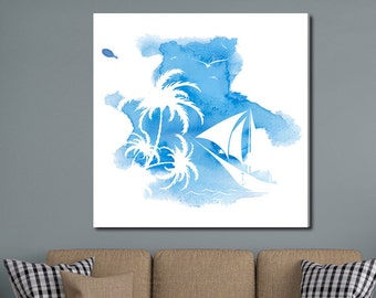 Blue Paradise, Tropical Watercolor Gallery-Wrapped Canvas
