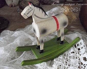Charming vintage rocking horse wood horse