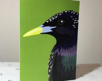 Starling bird greeting card - blank inside