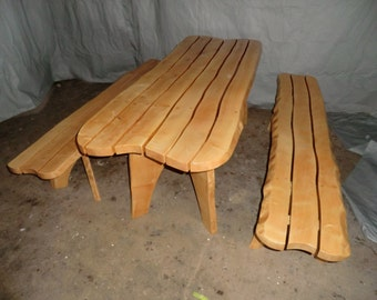 table and bench set in sycamore