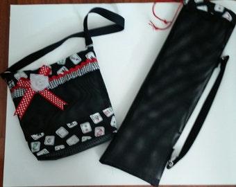 Mah Jong tile holder purse and holder for Mah jong racks