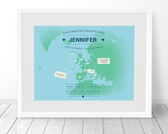 Personalised Europe Map, Map of Europe, Custom Map Print, Places We've Been, Places Travelled, Where We've Been, Travel Memories