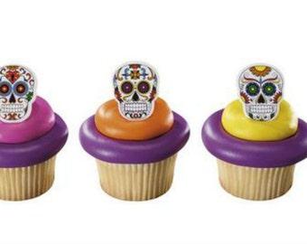 Dia de los Muertos Skeleton cupcake rings (24) party favor cake topper 2 doz