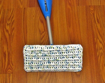 White Crochet Mop Cover, Duster Mop Cover, Reusable Mop Cover, Washable Duster Mop Cover