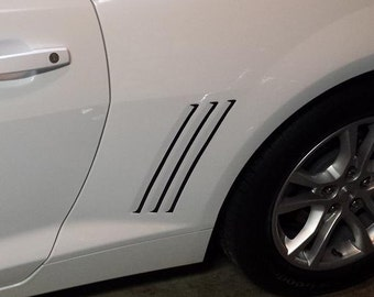 Chevy Camaro Side Vent Gill Insert 2010-2015 Inlay Stripes Vinyl Decal pair set   Guaranteed for life! Best fit! From your Camaro family