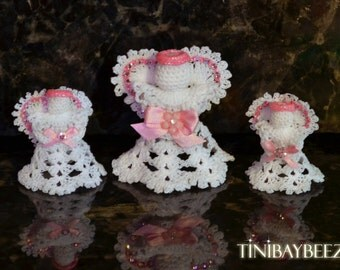 Hand Crochet Angel with Rhinestone Accents-Set of 3