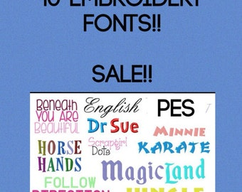 10 Embroidery Fonts PES Instant Download on SALE!!!