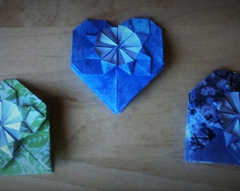 20 colorful origami hearts
