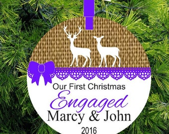 Burlap Deer Personalized Christmas Engagement Ornament, Recently Engaged, Porcelain Holiday Ornament, lovebirdschristmas