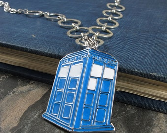 Blue TARDIS Doctor Who Funky Necklace