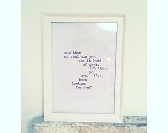 And then my soul saw you print