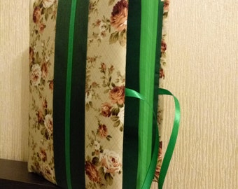 Fabric covered notebook, boho chic