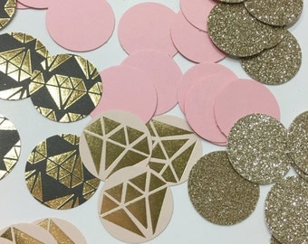 """Pink and gold glitter diamond confetti 1"""" 60 CT, bridal shower, birthday party decoration"""