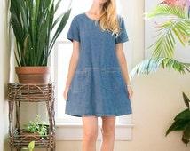 ON SALE Vintage 90's Jean Denim Dress   Oversized   Large   Pockets   BabyDoll Dress