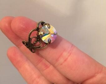 Antiqued Brass Filigree Ring