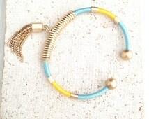 Boho Bracelet,Rope Bracelet,Bangle Bracelet,Thread Wrap Bracelet,Tribal Bangle Bracelet,Tribal Bracelet,Gold Tassle Bracelet,Color Bangled