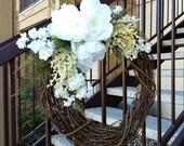 All Seasons Wreath - Spring Wreath - Summer Wreath - Bridal Wreath - White Wreath - Floral Wreath - Country Decor - Easter Wreath