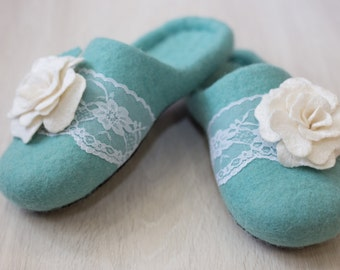Felted wool slippers Women home shoes