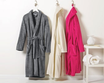 Monogrammed Micro-fleece Robe- Men Women Personalized with Name or Initials Adult Robe: Mother's and Father's Day gift