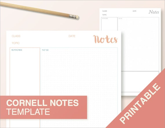 Best Of Cornell Notes Template Word: Cornell Notes Template Printable Print At Home By BumbleBeasy