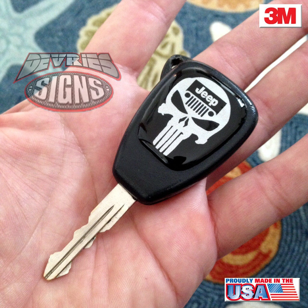 Domed JEEP Key Fob Emblems Badge Punisher Wrangler JK JKU