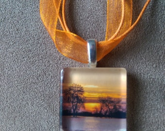 Photography Pendant Necklace Wearable Artwork sunset at the Lake