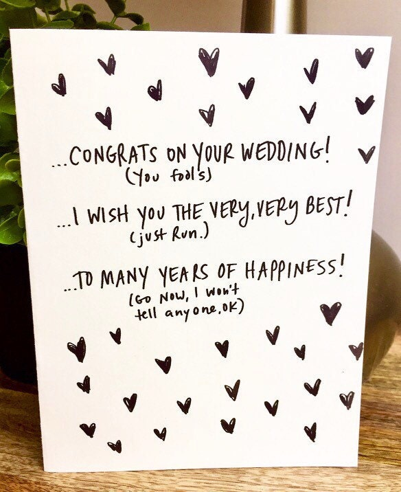 Wedding Card Unique Funny Congratulations Handmade Run Away Together