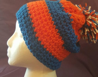 Sports beanie or slouch can be custom made for any sports team.