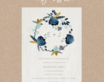 Blue Laurel Wedding Invitation | Digital File