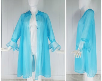 Vintage Womens JC Penney Sheer Blue Chiffon Dressing Gown Robe | Size Up to Large