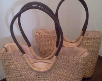hand woven beach basket made of water hyacinth