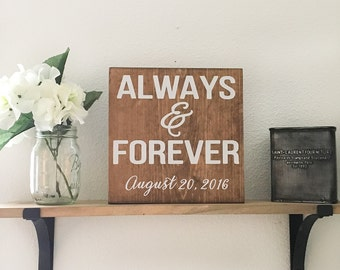 Always and Forever Sign, Forever and Always Sign, Wedding Date Sign, Wedding Sign, Wedding Decor