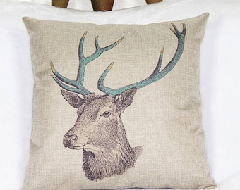 Throw Pillow Slipcover with Stag Deer Head