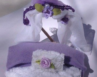 Wooden Bed for Dollhouse Princess Fairy Chenille Purple Bedding