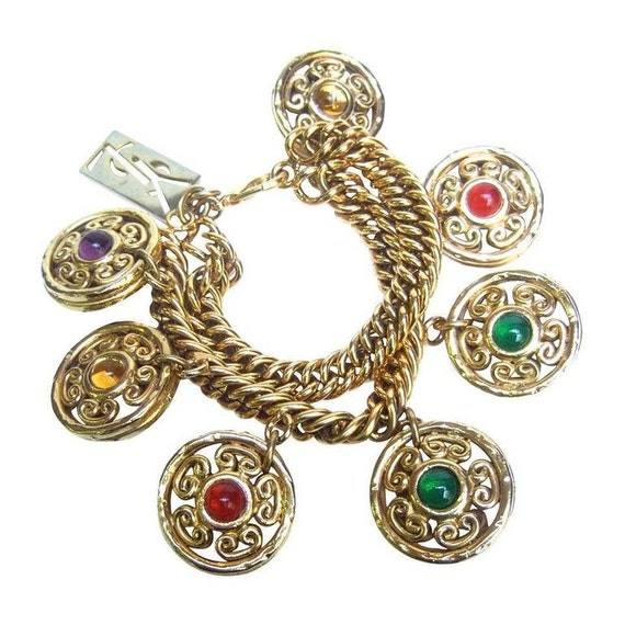 Yves saint laurent gilt charm bracelet 1980 39 s - Bracelet yves saint laurent ...
