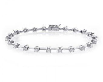 2.50 Carat Round Cut Diamond Bar Link Tennis Bracelet 14K White Gold