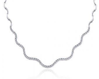 2.45 Carat Diamond S-Wave Tennis 14K White Gold Necklace