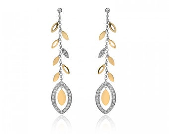 0.25 Carat Diamond Floral Dangling Earrings 14k Two Tone Gold