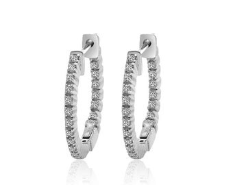 14K White Gold Diamond Eternity Hoop Earrings (0.40ctw)