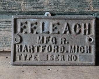 F.F. Leach Mfgr. plate