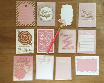Journal cards in pink and gold foil - similar to project life / planner accessories / journaling / planner supplies / planner accessories