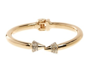 GOLD SPIKED Open Ended CUFF With cz