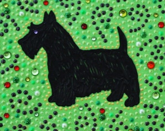 Mosaic-inspired black Scottie dog wall art