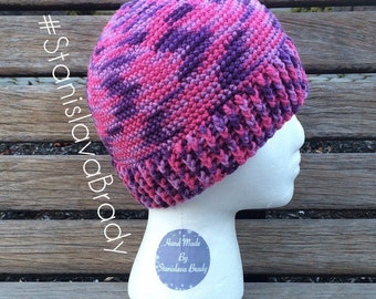 Woman hat, one size, pink and purple