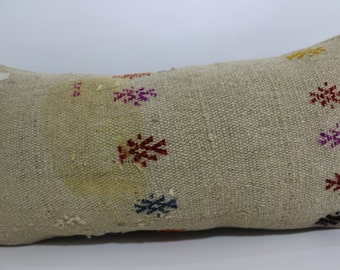 Vintage kilim pillow 12x24 Embroidered kilim pillow Sofa Pillow Boho kilim pillow bed pillow Antique pillow Home Decor SP3060-644