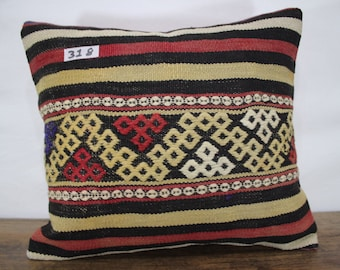 Embroidered Pillow Kilim Pillow Cover 16x18 Kilim Cushion Cover,Tribal Pillow,Embroidery Kilim Pillow Throw Pillow Kilim Cushion SP4040-318