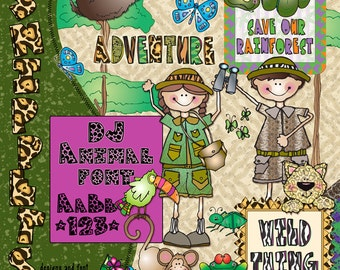 Rain Forest Snippets Clip Art, Font & Printables